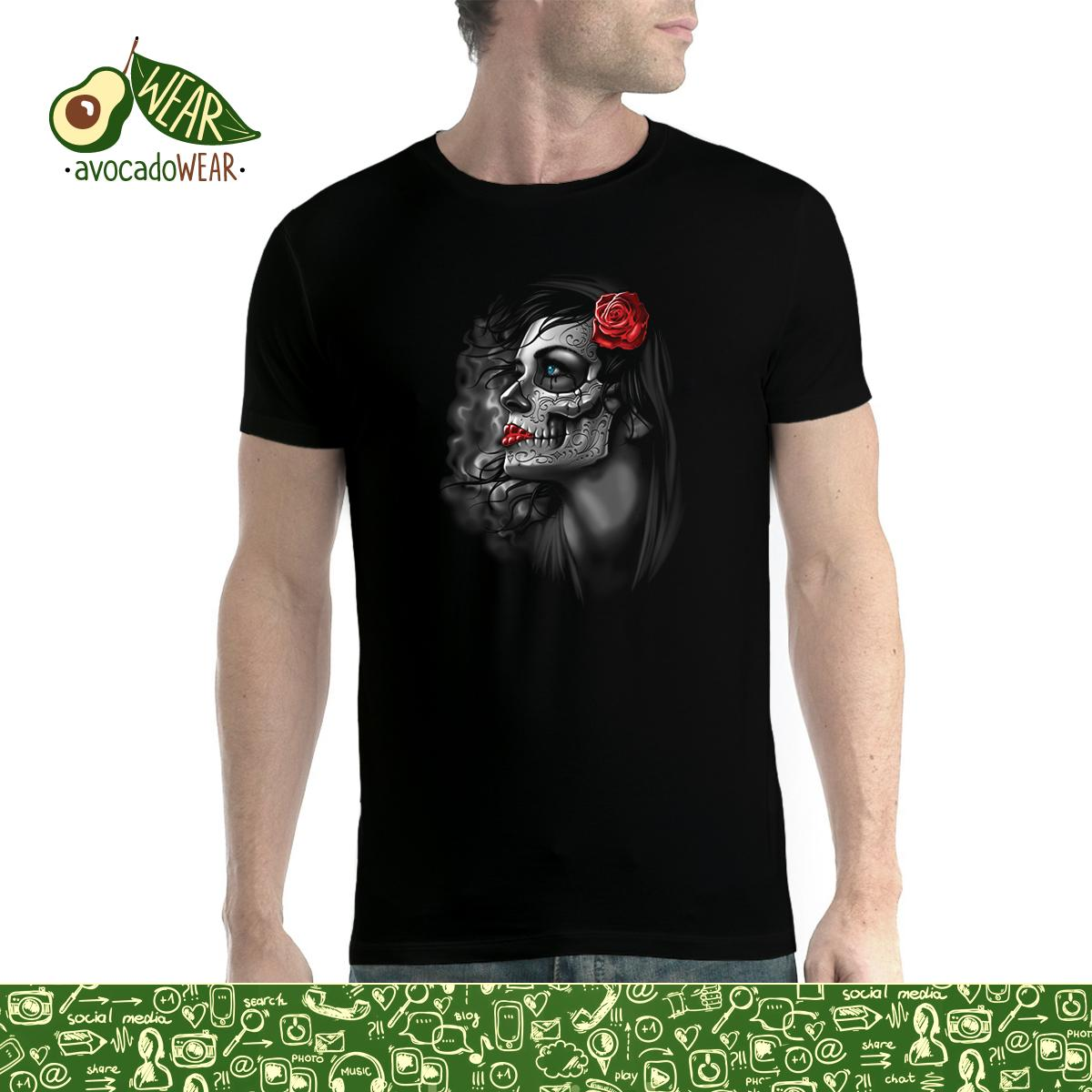 Rose Girl Skull Men T-shirt S-3XL New T Shirts Funny Tops Tee New Unisex Funny  High Quality Casual Printing 2018 Newest Fashion