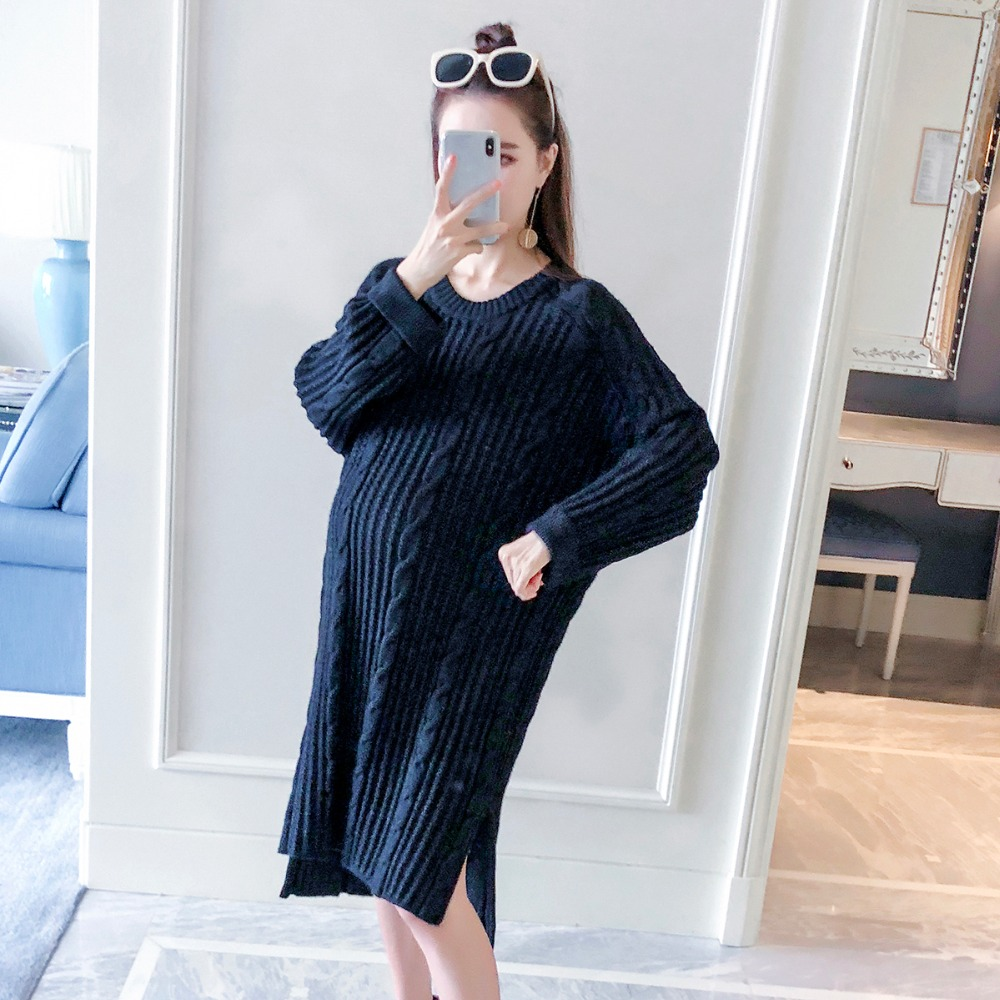 все цены на Pregnant women sweater long section 2018 autumn new fashion long-sleeved large size maternity clothes out loose loose tops онлайн