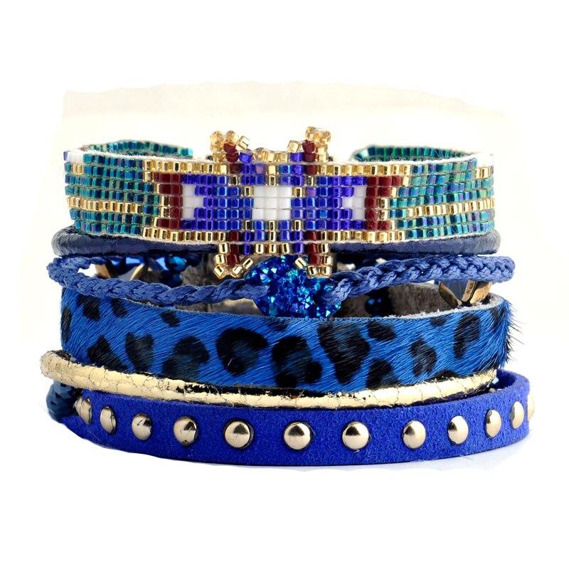 99031ee04293 Wellmore bohemio Cuentas pulseras color azul Boho estilo pulsera para las  mujeres