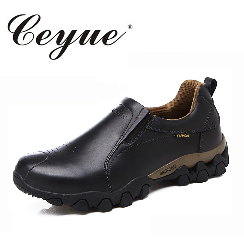 Ceyue Hot Sale Men Casual Shoes New Arrival 2017 Handmade Slip-On Moccasins Genuine Leather Black Shoes For Male Zapatos Hombre 2017 new comfortable casual shoes loafers men shoes quality split leather shoes men flats hot sale moccasins shoes