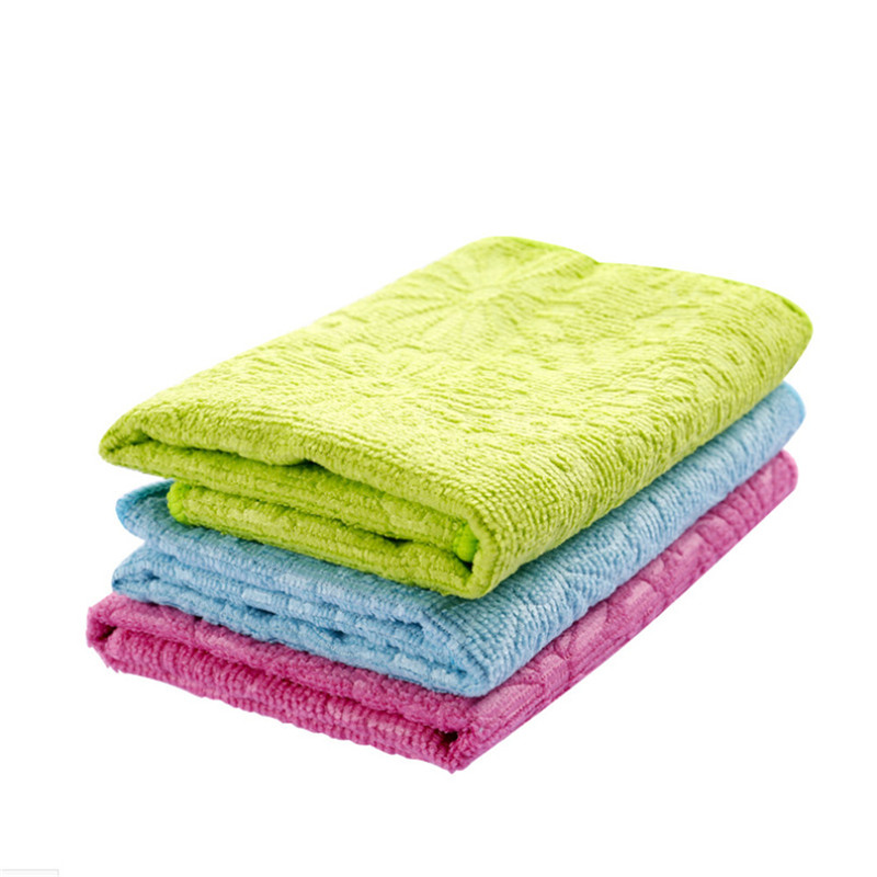 2018 High Efficient Anti-grease Color Dish Cloth Bamboo Fiber Washing Towel Magic Kitchen Cleaning Wiping Rags Kitchen Accessor