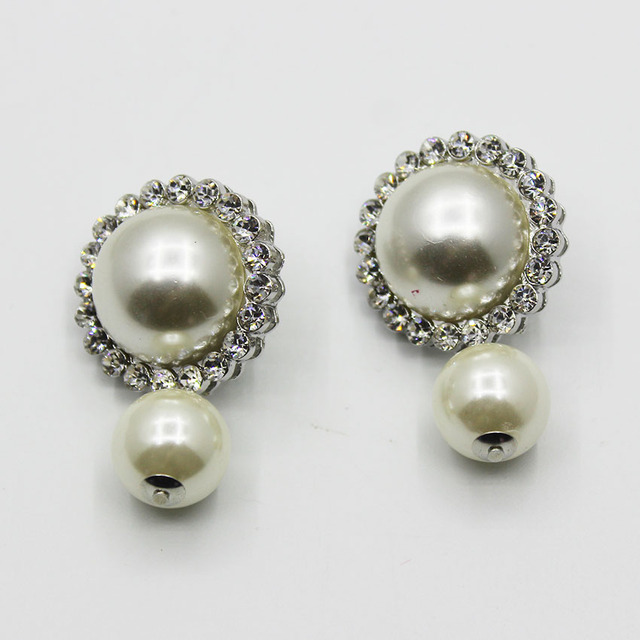 Large pearl zircon rhinestone round big button earring pearl pendant large pearl zircon rhinestone round big button earring pearl pendant retro ear jewelry female 761 mozeypictures Images