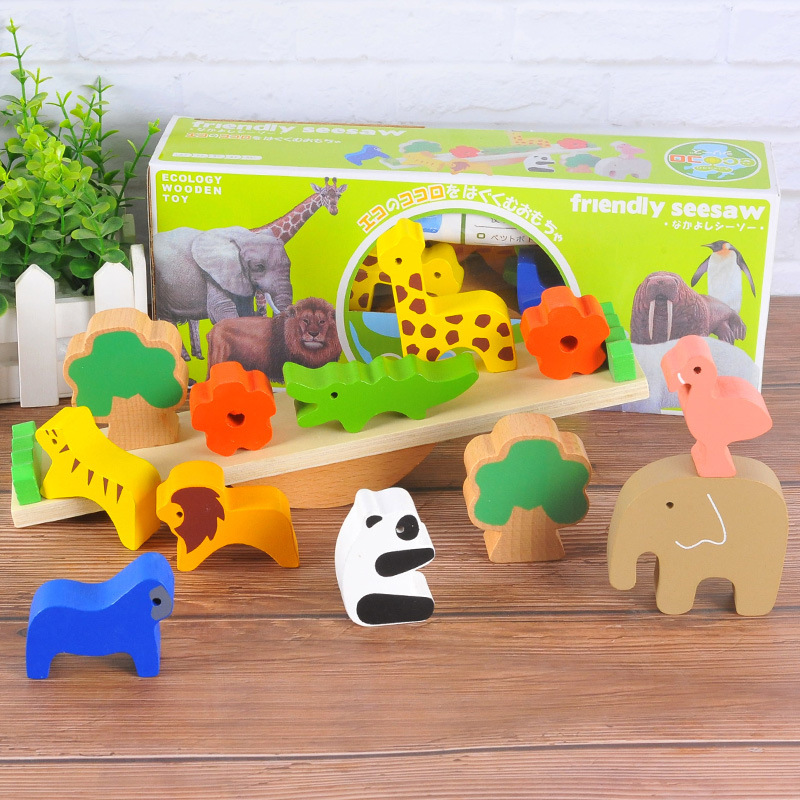 Montessori Forest Animal Seesaw Building Blocks Wooden Balance Wood Toys For Children Creative Assembling Educational Baby Toys