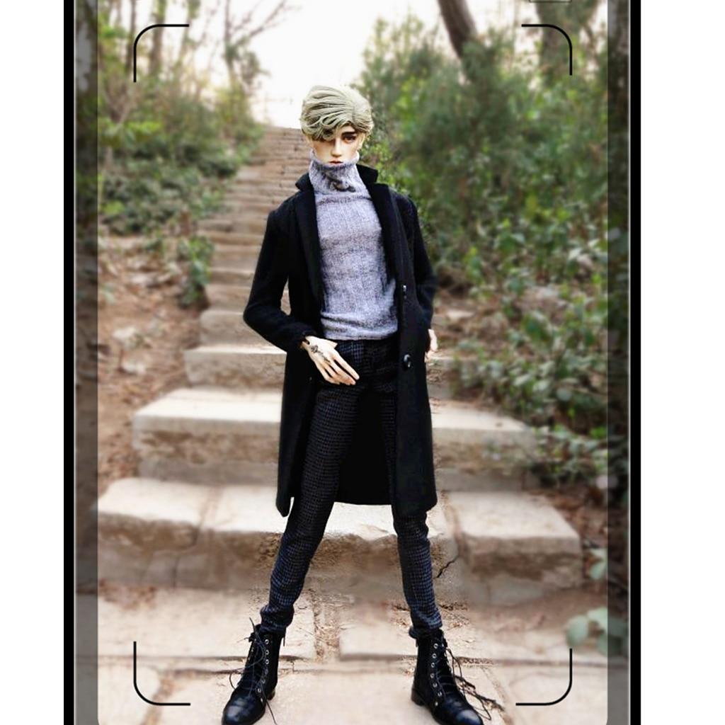 1 3 BJD Black Overcoat Sweater Pants Set for Normal 70cm Uncle Size Doll