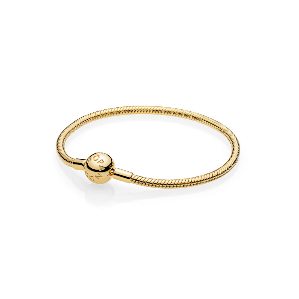 925 Sterling Silver Bangles Bracelet Chain Gold Classic Round Snake Chain for Charms Beads & Pendants For Women XPA004 classic printed round decorated faux leather chain bracelet for women