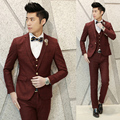 2016 new arrival wedding dress suits 2016 new Korean Slim plaid men's business suits, three-piece suit dress XY16-P275