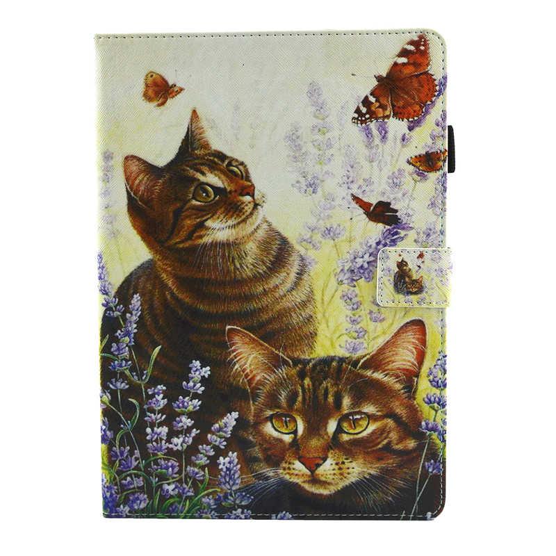 المحفظة القضية لباد برو 10.5 بوصة شجرة القط الفاكهة الرخام رسمت غطاء حامي شل لباد Pro10.5 فتحات بطاقة مصروف الجيب