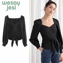 Womens tops and blouses summer Elegant fashion black long sleeve V-neck sexy chic top female Vintage blouse