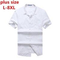 Plus Large Size 8XL 7XL 6XL 5XL 4XL New Summer 2017 Short Sleeve Twill Pure Color
