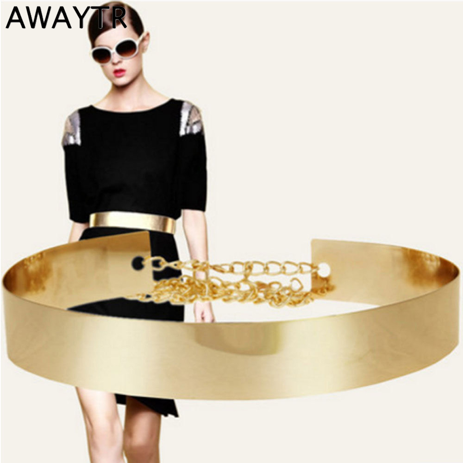 AWAYTR New Female Metal Wide Waistband Golden Women's Belt Waist Chain Skirt Coat Dress Accessories Luxury Chain Women Belt
