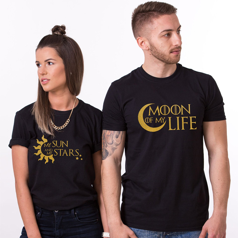 EnjoytheSpirit Couple Tshirt Valentine's Day Gift His and Hers Love Shirts Moon of My Life My Sun Stars Unisex 100% Cotton image