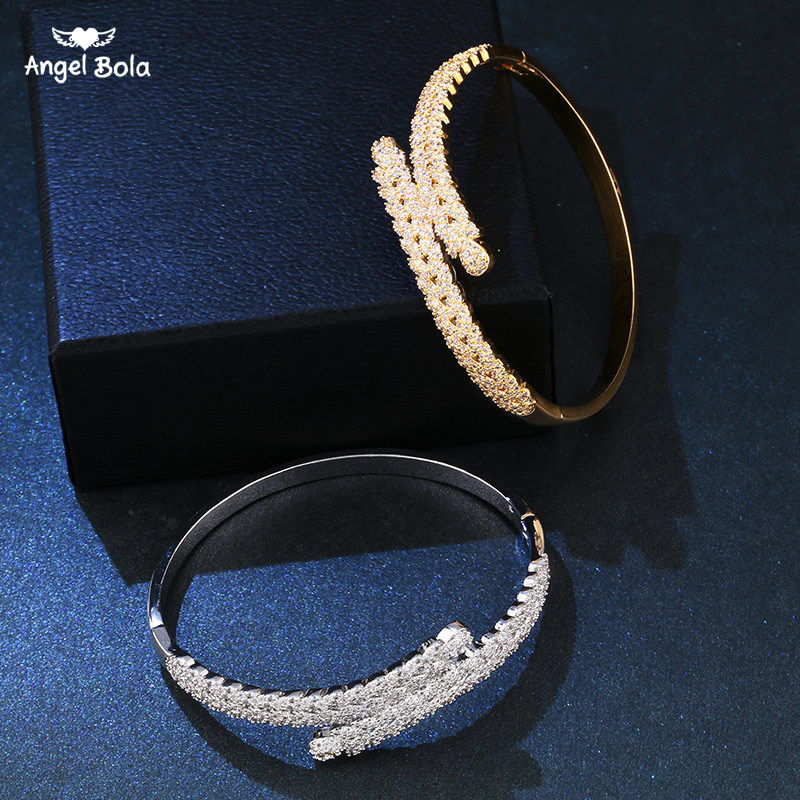 CZ Crystals Intersect Cross Bracelets Bangles Luxury Shiny Silver Gold Pulseras Bracelet for Women Jewelry Drop Shipping