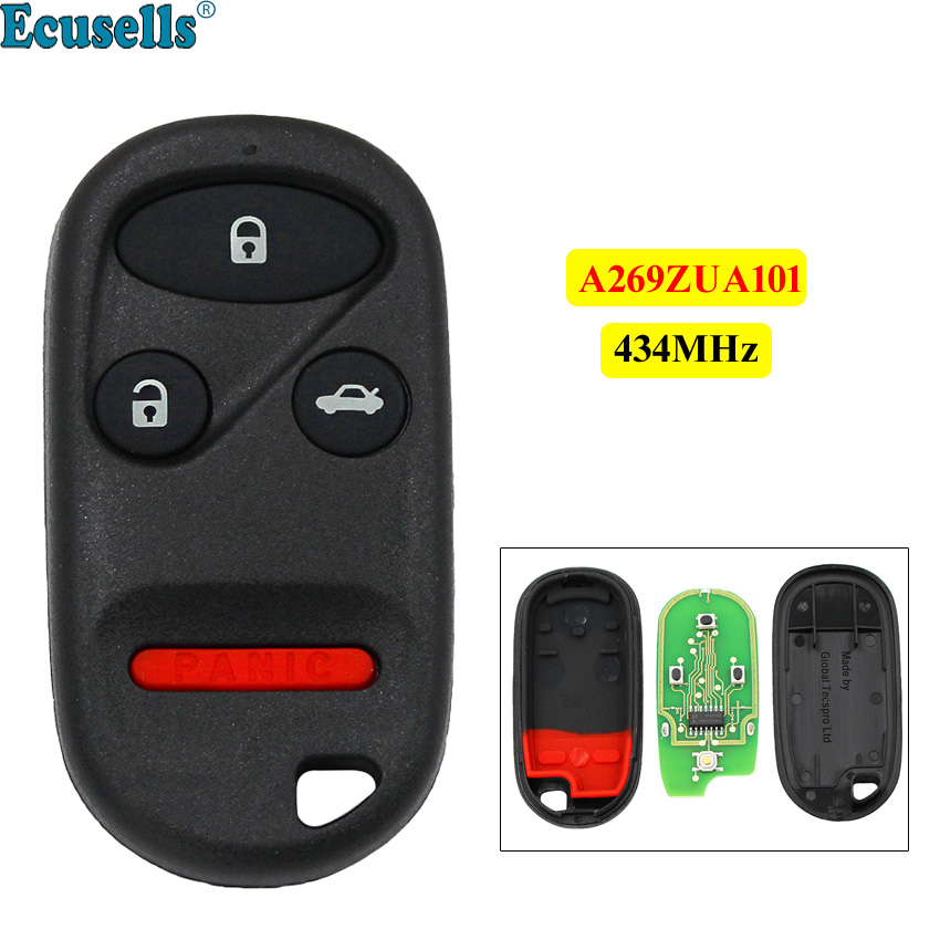 4 button <font><b>Keyless</b></font> <font><b>Remote</b></font> control Fob for <font><b>Honda</b></font> CIVIC ACCORD CR V Insight Odyssey Pilot Prelude 3+1 button 434MHZ A269ZUA101 image