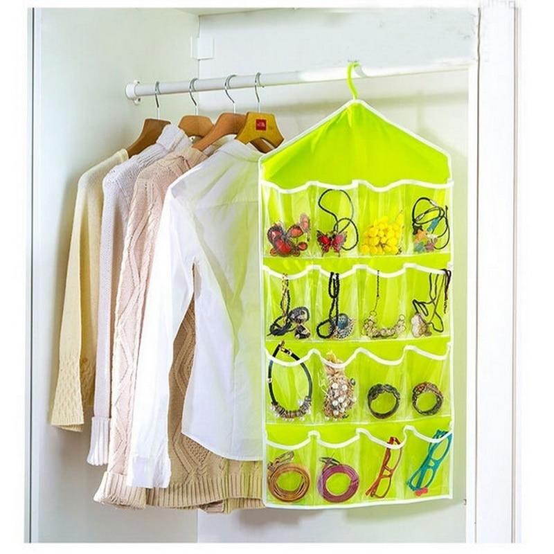 16 Pockets Clear Hanging Bag Socks Bra Underwear Rack Hanger Storage Organizer Home Door Wall Hanging Closet Sundries Bags-in Storage Bags from Home & Garden