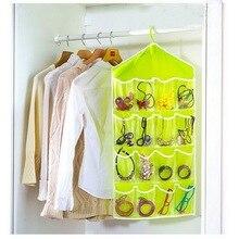16 bolsillos bolsa transparente colgante calcetines sujetador ropa interior perchero organizador de almacenamiento puerta de casa colgador de pared armario misceláneas bolsas