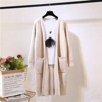 2018 New Fashion Women Sweater Long Cardigan Autumn Winter Long Sleeve Loose Beading Knitted Cardigan Female Sweaters Coat