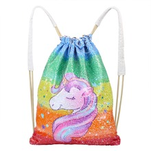 Unicorn Painting Drawstring Bag Sequins Mermaid Backpack Bag Magic Reversible Shoulder Bag Casual Party Supply Home Storage D15