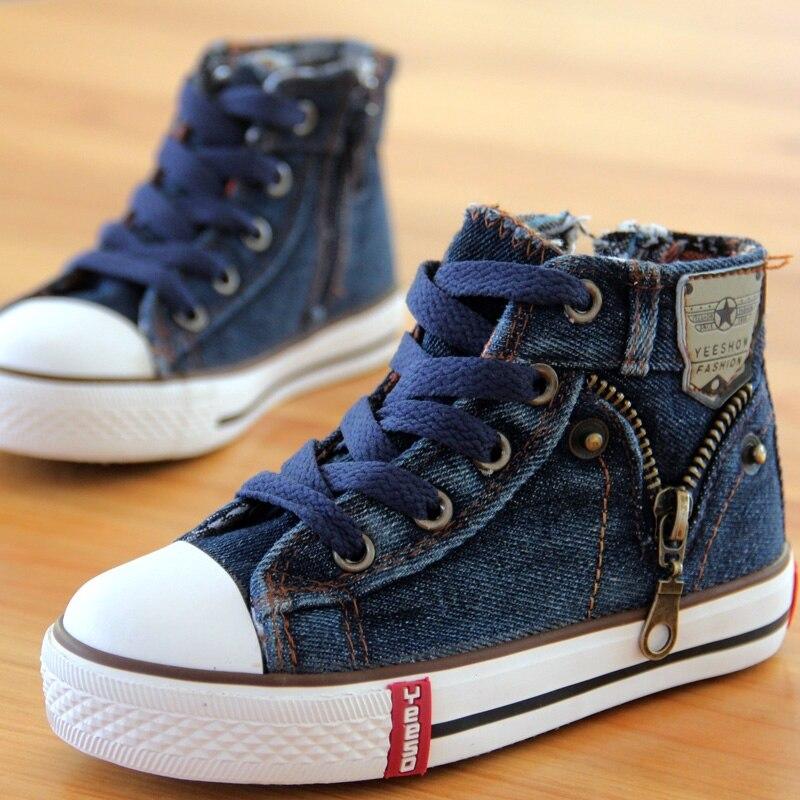 cd1383ff 14 tipo Nuevo Llegado Tamaño 25 37 Niños Calzado de niños Zapatillas de  Lona Niños Jeans Pisos Girls Botas de Denim Lado Zapatos de la cremallera  en ...
