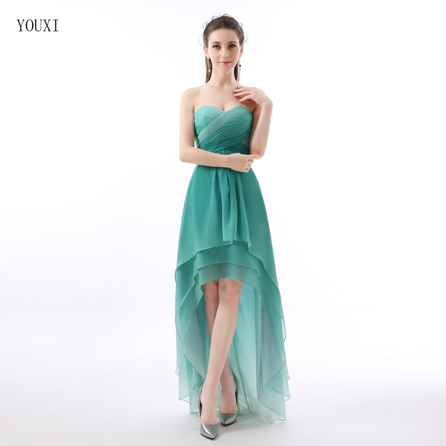 Gradually Dark Green Chiffon High Low Prom Dresses 2016 Vestidos De ...