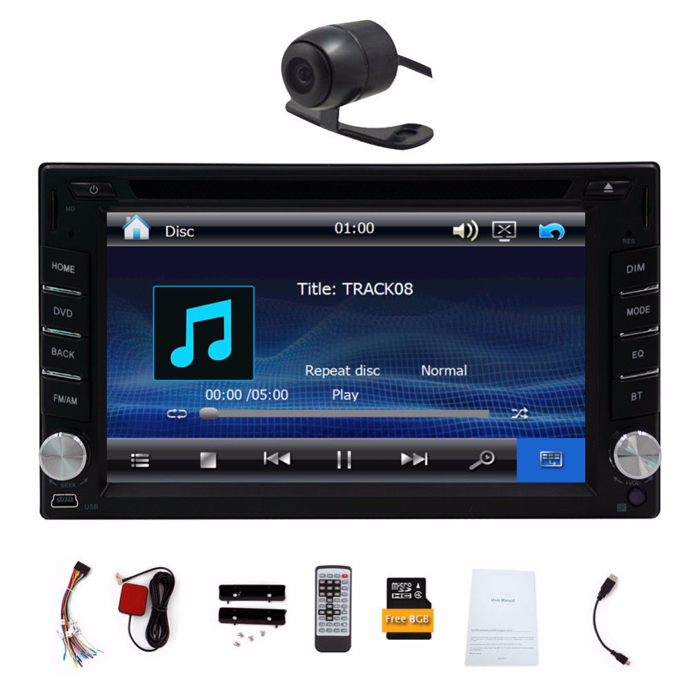 Car DVD Player GPS Navigation Stereo Built-in Bluetooth Car Radio Audio Player FM AM RDS Digital Touch Screen +Free Rear Camera