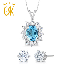GemStoneKing 925 Sterling Silver Vintage Fine Jewelry 1.50 Ct Natural Blue Topaz Pendant  Necklace For Women with Earrings Gift