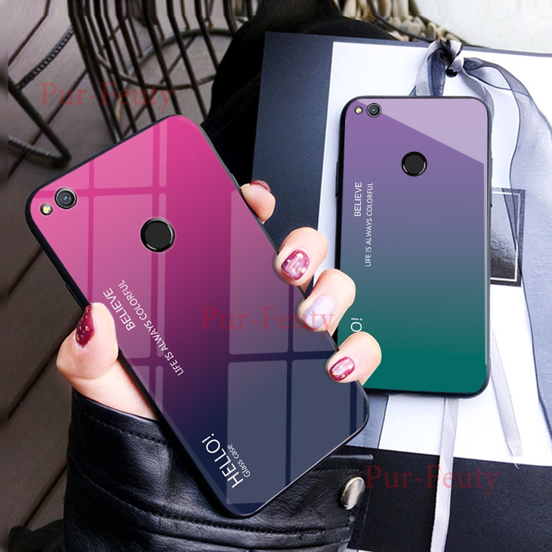 Case For <font><b>Huawei</b></font> Honor 8 Lite <font><b>PRA</b></font>-TL10 <font><b>PRA</b></font>-<font><b>LX1</b></font> Fashion Hard Tempered Glass Gradient Protect Back Cover Honor8 Lite <font><b>PRA</b></font> <font><b>LX1</b></font> TL10 image