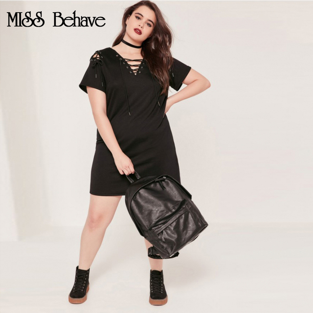 38c0feece76 MISS Behave Sexy Dress Women Plus Size Solid Streetwear V-Neck 2018 Summer  Dresses Fat Party Casual Dress Dresses Large Sizes