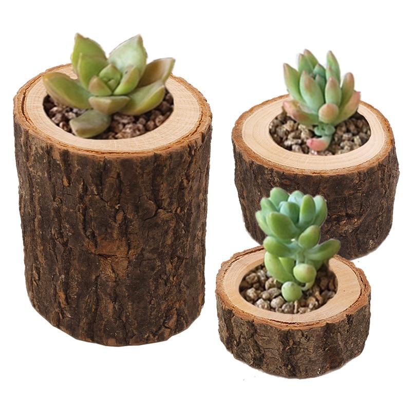 Wood Flowerpot For Succulent Planter Candle Stand Set Creative Wooden Bark Candlestick Indoor Flower Pot Decoration Ornament
