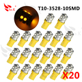 4 pc 10 orange smt t10 âmbar turn signal wedge 10x 100x luz lâmpadas smt 3528 chips de led amarelo