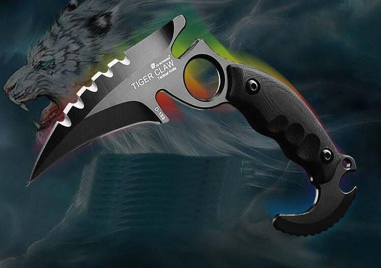 Couteau de Karambit tactique extérieur Cs go Camping survie couteaux de griffe de chasse EDC outils multi-usages couteau de chasse à lame D2