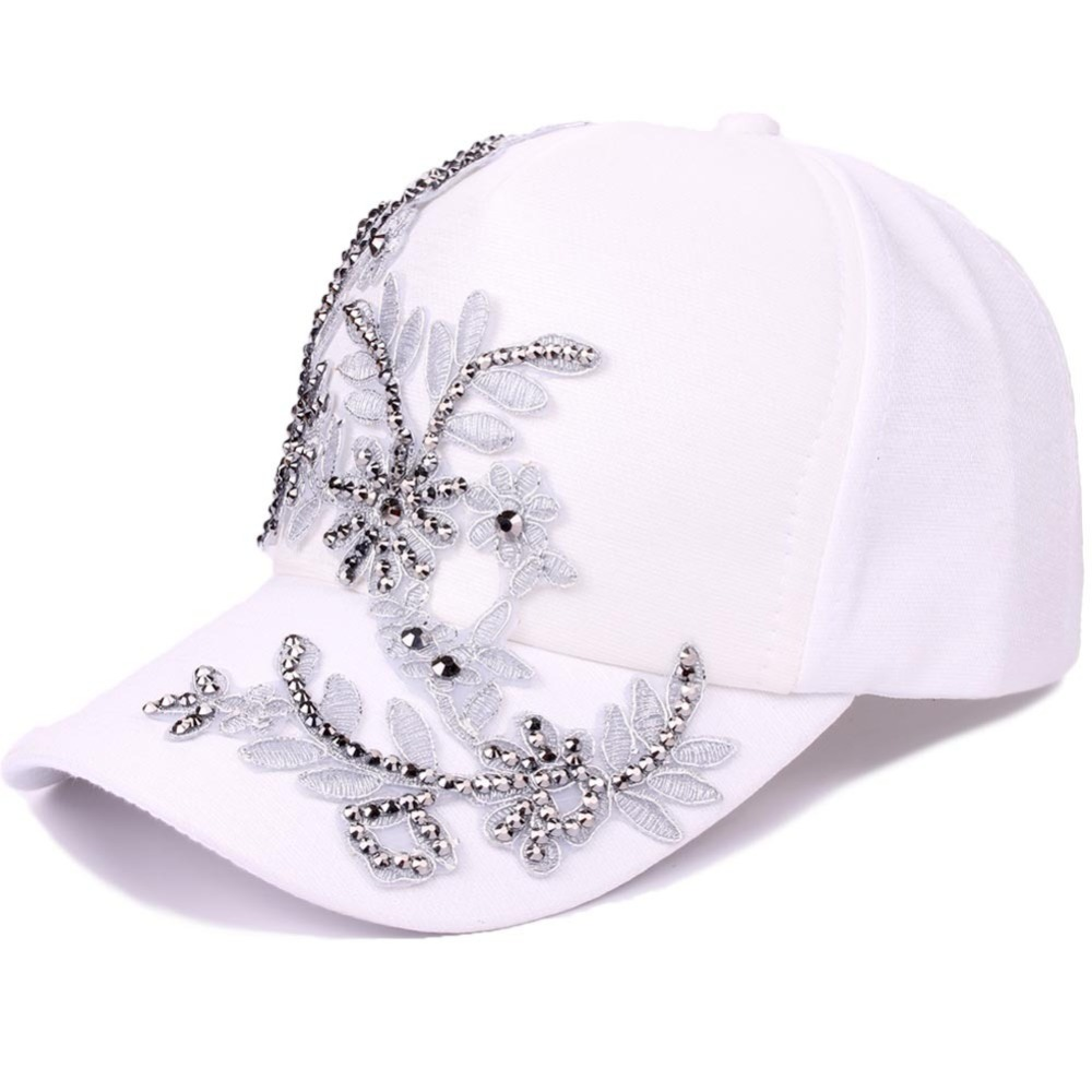 Mode Weiße Baseballmütze Frauen Floral Form Jugend Mädchen Hüte Casquette Homme Womens Grau Stickerei Niet Hysteresenkappe