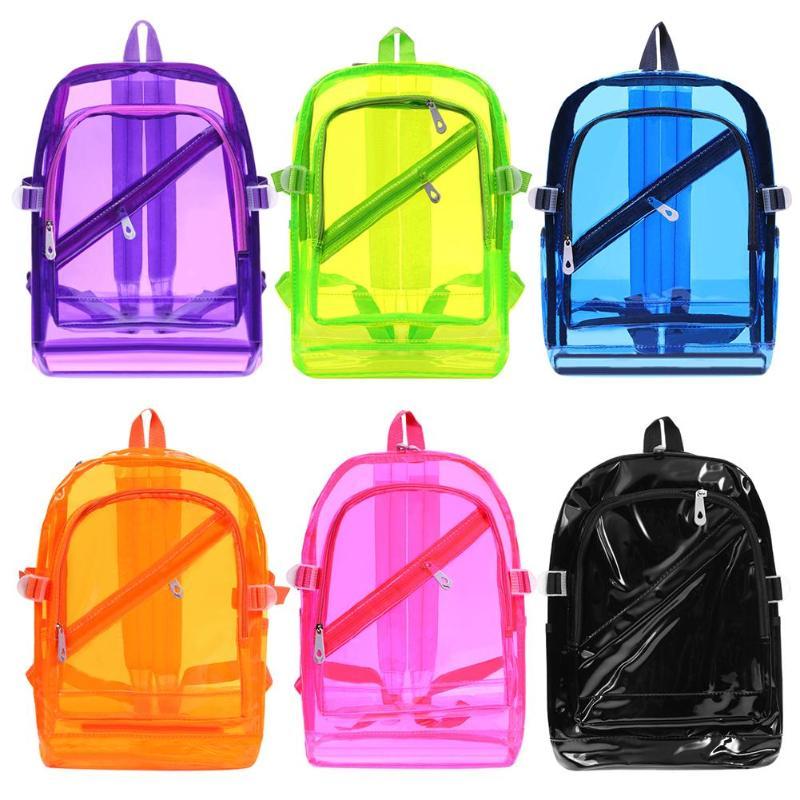 28da369503e5 Women/Men PVC Clear Waterproof Backpacks Teen Hologram Shoulder ...
