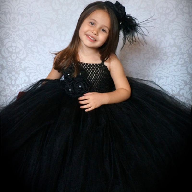 Elegant Kids Black Dress Girl Flower Princess Dress Birthday Wedding Party  Dresses Handmade Costume Boutique Girls Clothes W077-in Dresses from Mother  ... 04d6e8a1784b