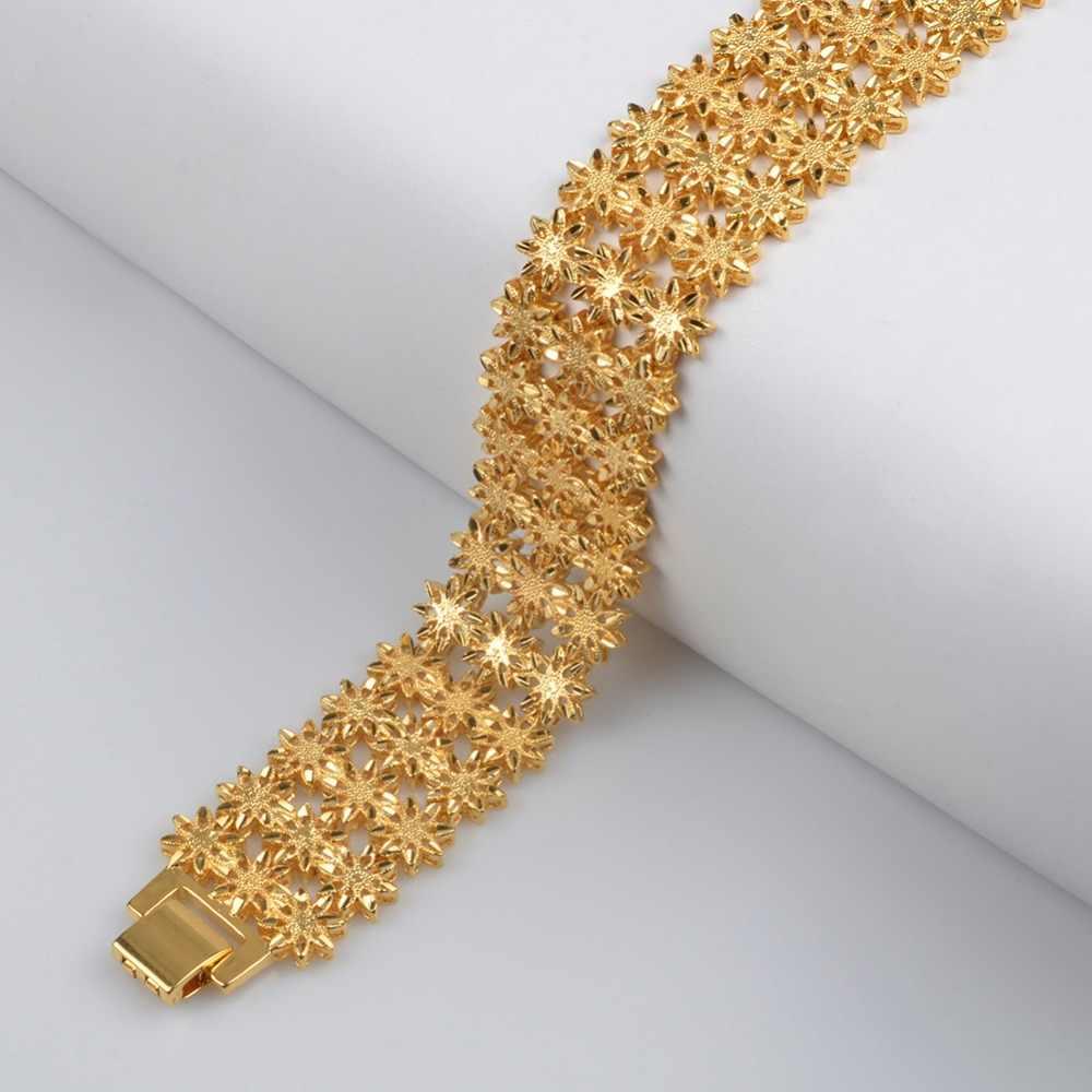 Anniyo 21 cm/szerokość bransoletka dla kobiet mężczyzn złoty kolor i miedzi biżuteria etiopii afryki bransoletka arabskie prezenty ślubne #072506