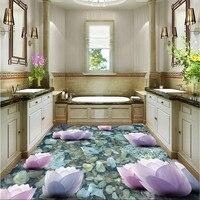 Modern Floor painting HD pink lotus river stone Waterproof Bathroom kitchen PVC Wall paper Self wall sticker Floor mural