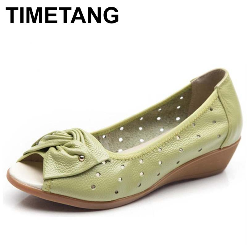 где купить TIMETANG 2018 New Spring Summer Wedges Sandals Women Bowtie Casual Women Shoes Genuine Leather Sandals Woman Fish Mouth Toe C315 по лучшей цене