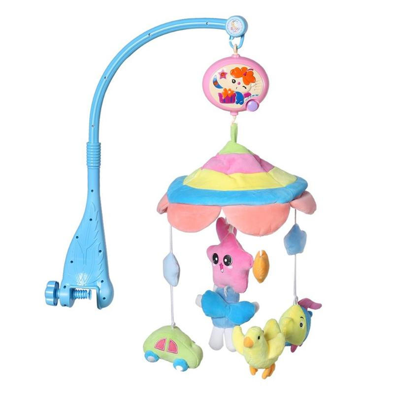 Baby Bed Hanging Bell Musical Crib Mobile Bed Bell Baby Rattle Rotating Bracket Projecting Baby Sleep