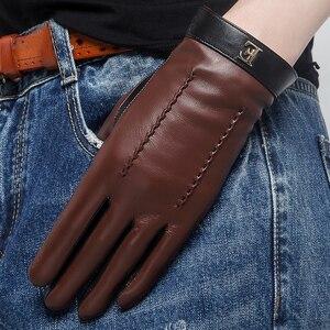 Image 5 - NEW 2020 Genuine Leather Women Gloves Female Elegant Two Tones Sheepskin Gloves Autumn Winter Warm Plush Lined 3326