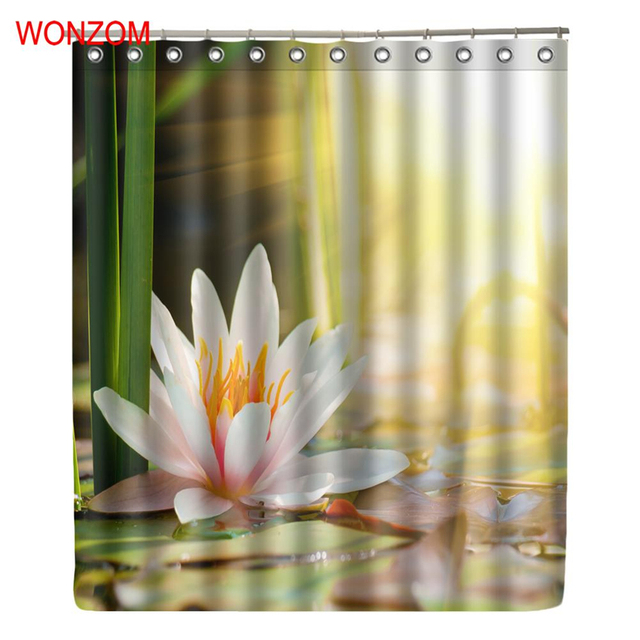 WONZOM Sunshine Lake Modern Polyester Waterproof Accessories Lotus Shower Curtains For Bathroom Fabric Bath Curtain With Hooks