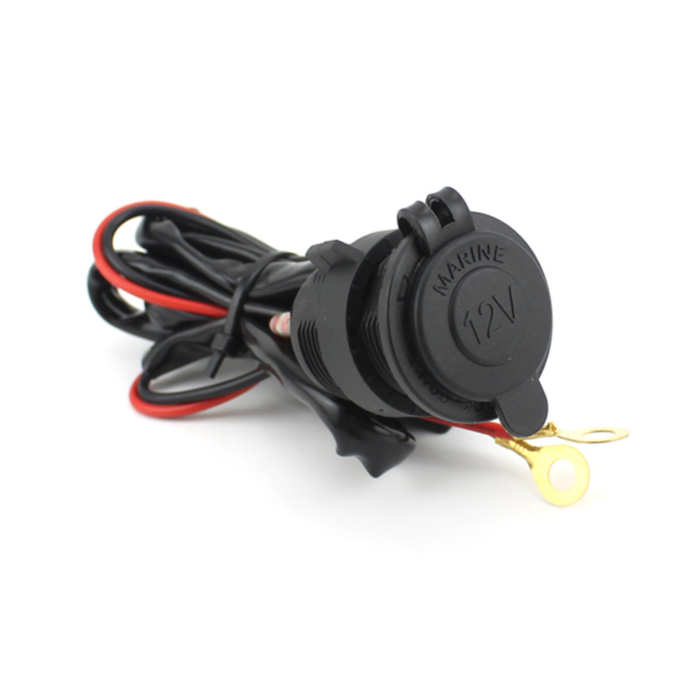 Waterproof 12V Power Socket Car Boat Motorcycle Cigarette Lighter Plug 1.5m Wire With Insurance Cable GPS Charging Seat