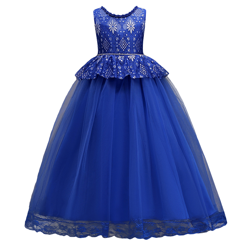 BAOHULU Sleeveless Chiffon Embroidered Tulle Wedding Party Gown Girls Dresss First Communion Dresses for Girls 2018 New Blue