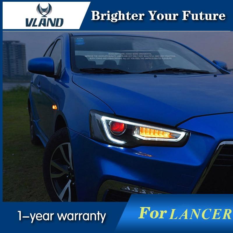 Vland передняя фара для Mitsubishi Lancer EX светодиодный фар 2009 2016 ксеноновая дьявол глаз фары DRL