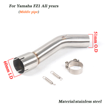For Yamaha FZ1 Middle Link Exhaust Muffler Pipe 51mm Motorcycle Stainless Steel Silencer System all years