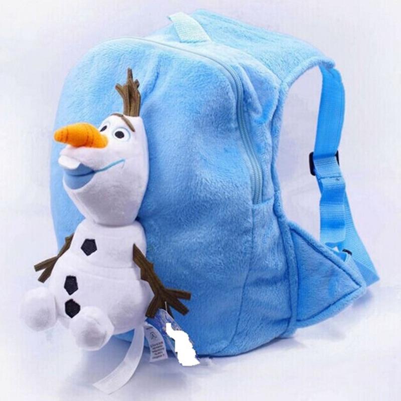 Cartoon Olaf Elsa Anna KID School Bag Child Backpack Plush Winter Warm Elsa Olaf Anna Knitting Beanies Caps With Scarf Collar