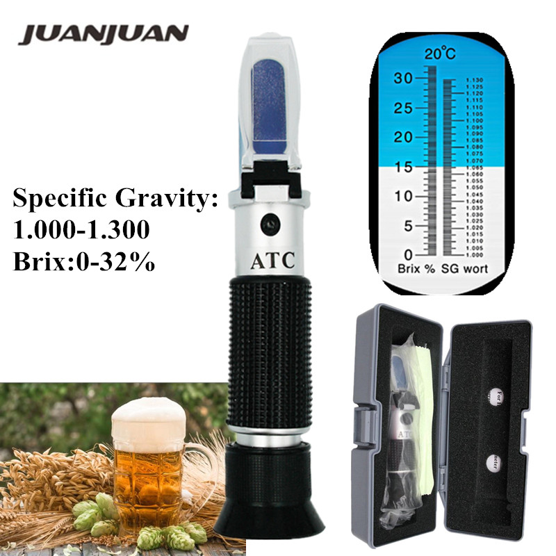 Retail Box Refractometer Beer Wort Wine ATC SG 1.000-1.130 Brix 0-32%, For Sugar Wine Beer Fruit 48%Off