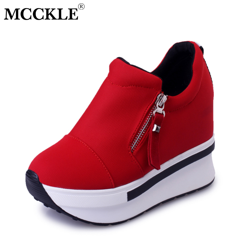 MCCKLE Creepers Platform Shoes Female Shallow Canvas Increased Heels Woman Shoe Zapatillas Mujer Footwear