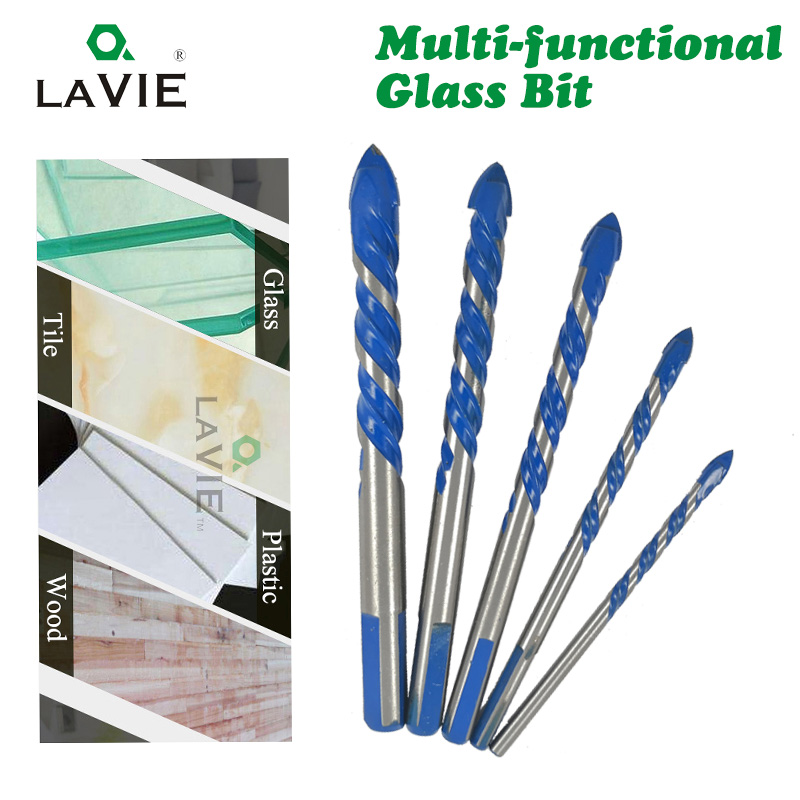 LAVIE 3mm to 12mm Multifunctional Glass Drill Bit Twist Spade Drill Triangle Bits For Ceramic Tile Concrete Glass Marble DB02055