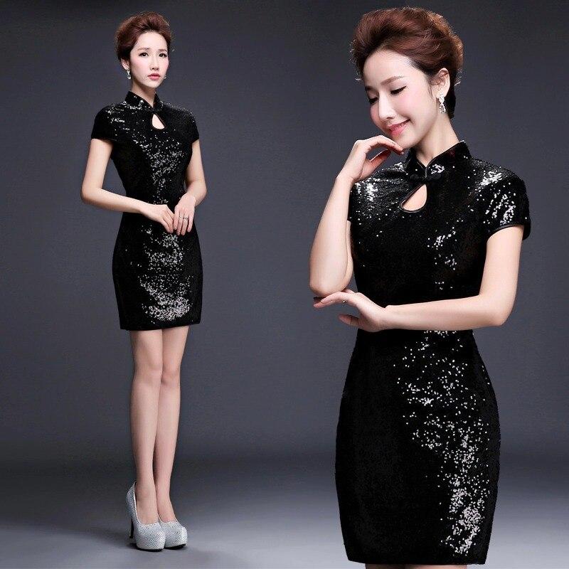 wanita pendek emas sequin formal dinner party cinese cheongsam - Pakaian kebangsaan - Foto 5