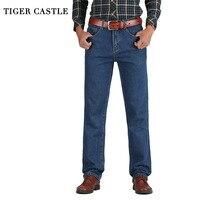כותנה גברים טירה נמר קלאסי ישר רחבים ג 'ינס מעצב סתיו האביב בתוספת גודל ג' ינס ישר המכנסיים מכנסיים זכר