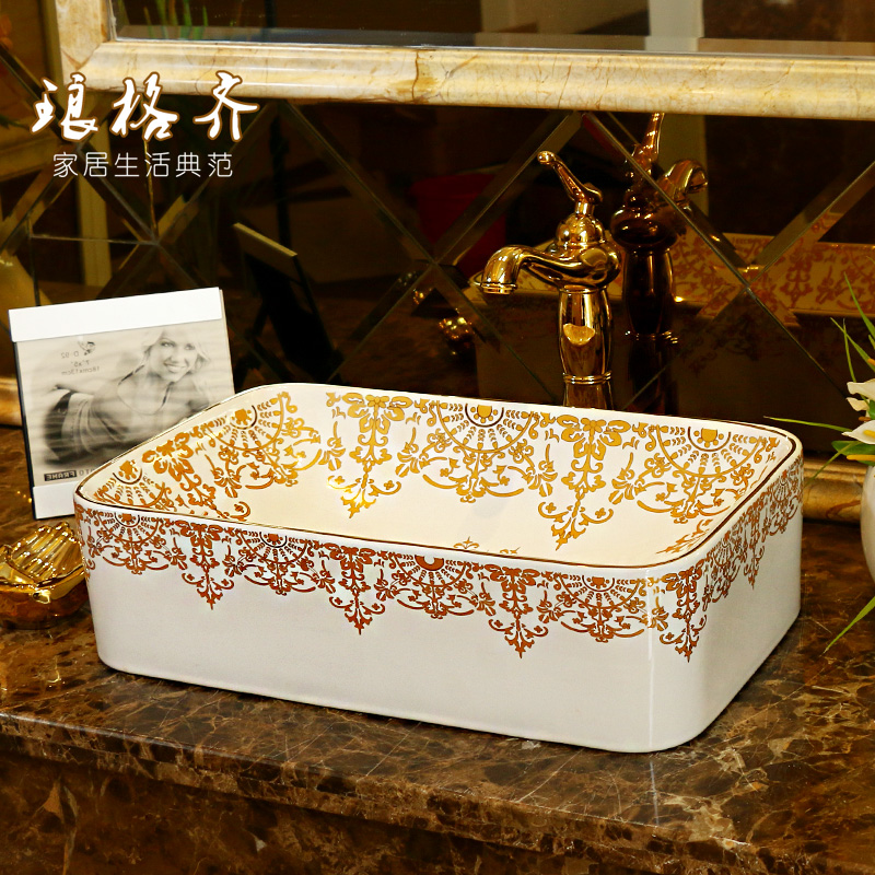 Jingdezhen ceramic sanitary wash basin , art basin small square in Rome